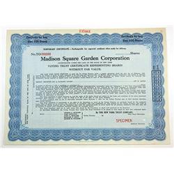 Madison Square Garden Corp., ca.1960-1970 Specimen Stock Certificate