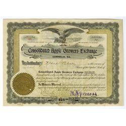 Consolidated Apples Growers Exchange, 1921 Issue Stock Certificate.