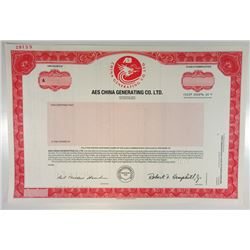 AES China Generating Co., Ltd., 1994 Specimen Stock Certificate