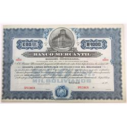 Banco Mercantil, 1903 Specimen Bond