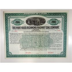 Port Hood Richmond Railway Coal Co., 1906 Specimen Bond