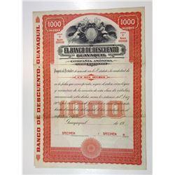 El Banco De Descuento Guayaquil, ca.1950-1970 Specimen Bond