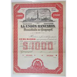 La Union Bancaria, ca.1900-1920 Specimen Bond