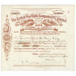 British Tea Table Co, 1897 Ltd., 1903 Issued Stock Certificate