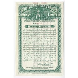 British-American Tobacco Co., 1920 Specimen Fractional Certificate.
