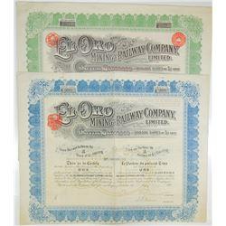 El Oro Mining & Railway Co. Ltd., 1910-1920 Pair of Issued Stock Certificates