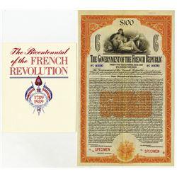 Government of the French Republic, 1920 Specimen Bond.