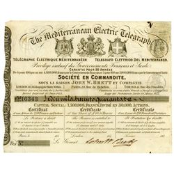 Mediterranean Electric Telegraph, 1853 Issued Stock Certificate