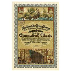 Norddeutsche Union Werke, Hamburg, 1922 Issued Bond Certificate.