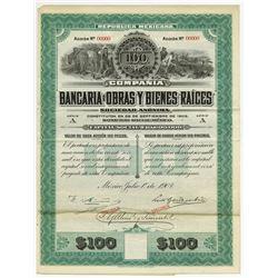 Bancaria De Obras Y Bienes Raices, 1907 Specimen Bond