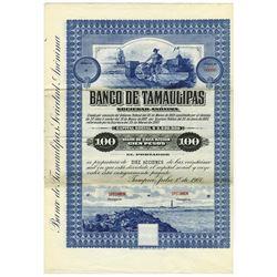 Banco De Tamaulipas S. A., 1907 Stock Certificate Specimen.