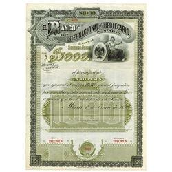 Banco Internacional e Hipotecario De Mexico 1890 Specimen bond.