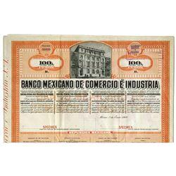 Banco Mexicano De Comercio E Industria, 1909 Specimen Bond.