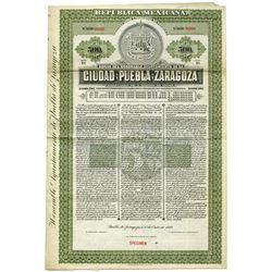 Bonos Del Honorable Ayuntamiento del la Ciudad de Puebla de Zaragoza 1910 Specimen Bond.