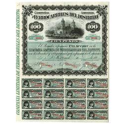 Compania De Ferrocarriles Del Distrito 1880's Specimen Stock.