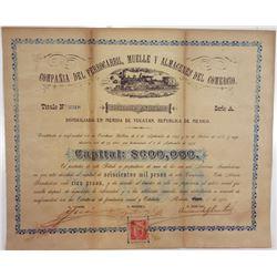 Compania del Ferrocarril, Muelle y Almacenes del Comercio, 1901 Issued Stock Certificate