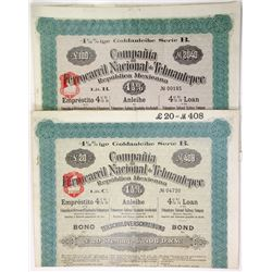 Compania Ferrocarril Nacional de Tehuantepec Republica Mexicana, 1909 Pair of Issued Bonds