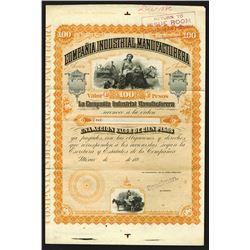 Compania Industrial Manufacturera, ca.1880-1890 Specimen Bond