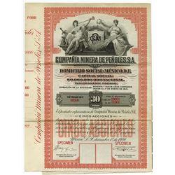 Compania Minera De Penoles, S.A., 1920 Specimen Bond.