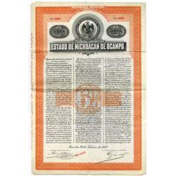 Estado De Michoacàn De Ocampo, 1912 Specimen Bond