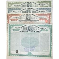 Ferrocarriles Nacionales de Mexico, 1907 Issued Group of 4 Issued Bonds.
