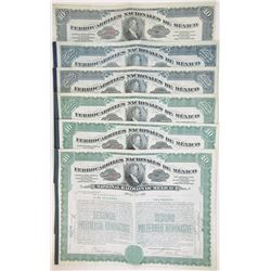 Ferrocarriles Nacionales de Mexico, 1909-1910 Issued Group of 6 Stock Certificates
