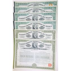 Ferrocarriles Nacionales de Mexico, 1909-1910 Issued Group of 8 Stock Certificates
