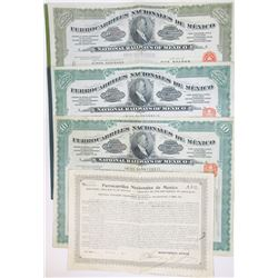 Ferrocarriles Nacionales de Mexico, 1909-1914 Issued Quartet of Stock Certificates