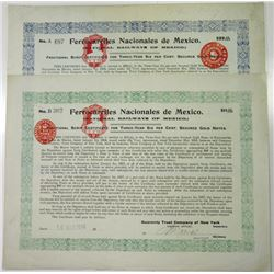 Ferrocarriles Nacionales de Mexico, 1914 Pair of Issued Bonds