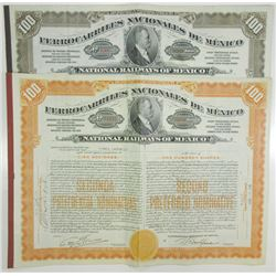 Ferrocarriles Nacionales de Mexico, 1927-1938 Issued Pair of Stock Certificates