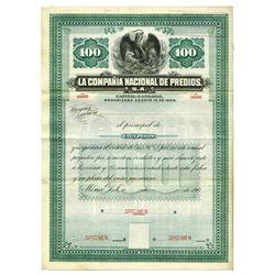 La Compania Nacional de Predios ca.1900 Specimen Bond.