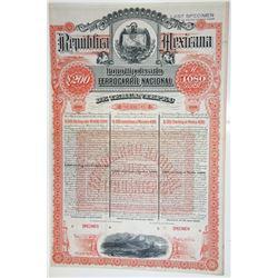 RepÏblica Mexicana Bono Hipotecario Ferrocarril Nacional de Tehuantepec, 1890 Specimen Bond rarity.