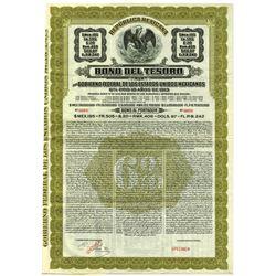 Republica Mexicana, Bono Del Tesoro  1913 Specimen Bond.