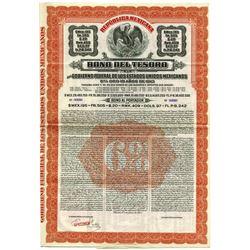 Republica Mexicana, Bono Del Tesoro, 1913 Specimen Bond.
