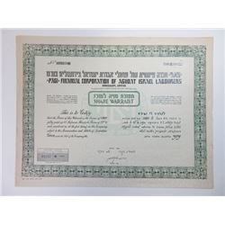 Financial Corp. of Agudat Israel Labourers Ltd., ca.1940-1950 Pair of issued Stock Certificates