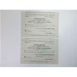 Palestine Corporation Ltd., 1948 Pair of Cancelled Dividend Warrants