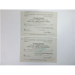 Palestine Corporation Ltd., 1948 Pair of Cancelled Dividend Warrants