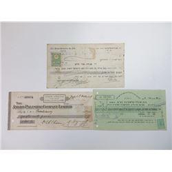Trio of Palestinian Issued Checks, ca.1908-1948