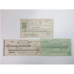 Trio of Palestinian Issued Checks, ca.1908-1948