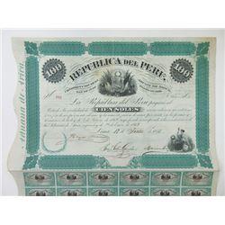 Republica Del Peru 1871 100 Soles Bond.