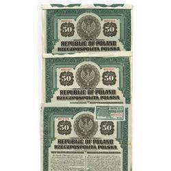 Republic of Poland, 1920 Trio of Issued Bonds.