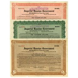 Imperial Russian Government, 1916 Trio of Issued Bonds