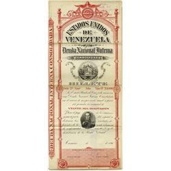 Estados Unidos de Venezuela Deuda Nacional Interna, 1896 Specimen Bond
