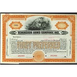 Remington Arms Co., 1920's Specimen Stock Certificate.