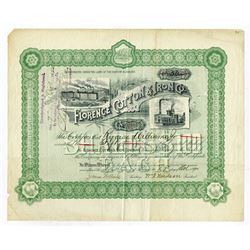 Florence Cotton & Iron Co., 1890 Issued Stock Certificate.