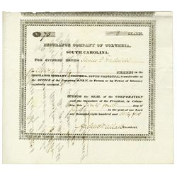Insurance Company of Columbia, 1835 Stock Certificate.