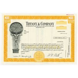 Tiffany & Co. 1978 Specimen Stock Certificate.