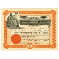 Chisna Consolidated Mines Co., 1907 Issued Stock Certificate.