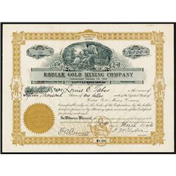Kodiak Gold Mining Co., 1906 Alaska Gold Mine Stock Certificate.
