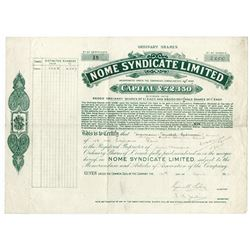 Nome Syndicate Limited, 1912 Issued Stock Certificate.